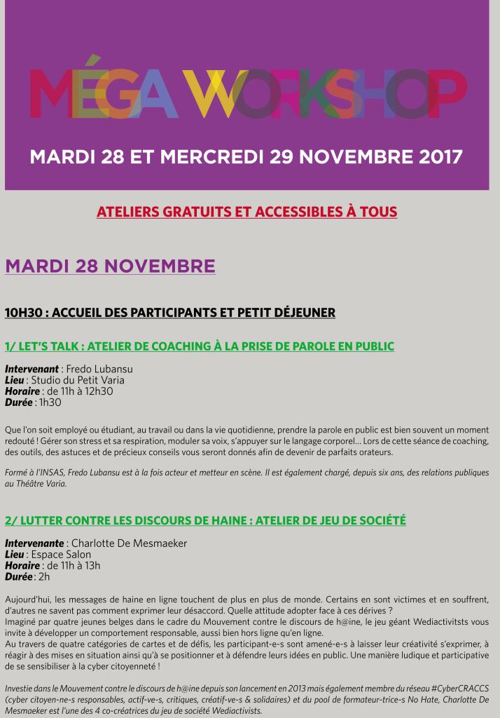 MEGA WORKSHOP MARDI 28 ET MERCREDI 29 NOVEMBRE 2017 - THEATRE VARIA --1