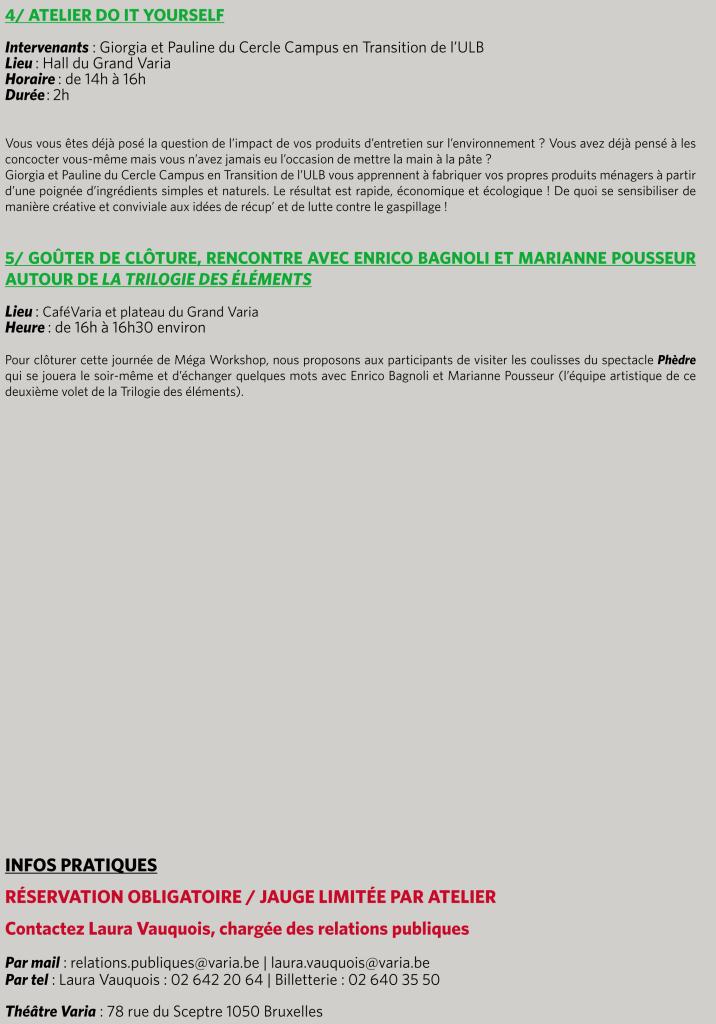 MEGA WORKSHOP MARDI 28 ET MERCREDI 29 NOVEMBRE 2017 - THEATRE VARIA --4+